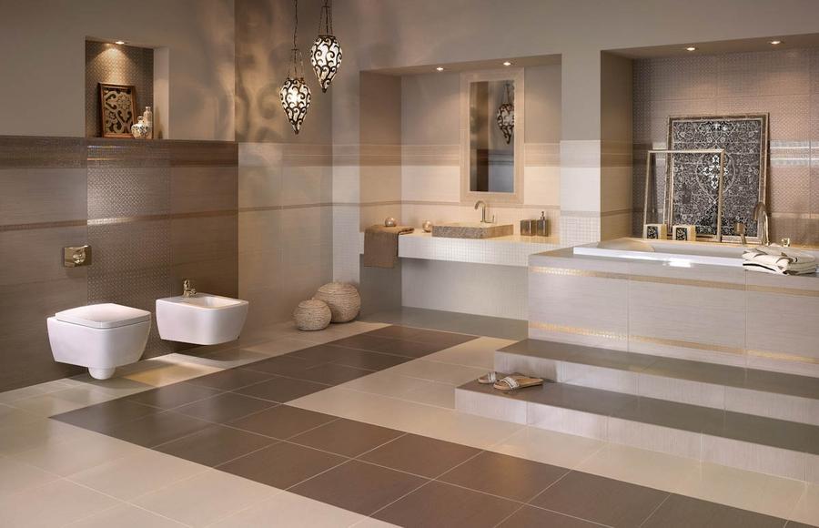 Badezimmer In Braun Mosaik